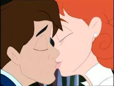 Tom Thumb and Thumbelina sharing a romantic first kiss