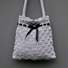 Grey Crochet Purse   Instant download PDF by PatternsbyMarianneS, $4.75