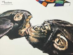 Art Backers is proud to announce the FIRST Limited Edition of artist Simone Fugazzotto! The Love Monkey Kiss is ready to go. Print Release, Affordable Art, Limited Edition Prints, Love Art, In This World, Artists, Painting, Fictional Characters, Painting Art