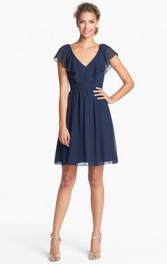 image of Pretty Navy Blue Short Bridesmaid Dress BNNBE0023