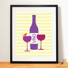 Items similar to Wine Kitchen Print, Wine Poster Kitchen Decor Gift for Wine Lover Wine Print Wine Bottle, Purple Yellow Kitchen Decor on Etsy Blue Kitchen Decor, Glass Kitchen, Kitchen Ideas, Kitchen Prints, Kitchen Wall Art, Wine Bottle Glasses, Wine Poster, Glass Art, Wine Glass