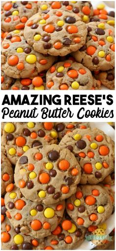 Best Ever Reese's Peanut Butter Cookies recipe made with a full cup of peanut butter! We added chocolate chips plus peanut butter chips & Reese's Pieces to our favorite peanut butter cookie recipe to get the ULTIMATE chocolate peanut butter cookies! Reese Peanut Butter Cookies Recipe, Peanut Butter Chips, Peanut Butter Recipes, Brownie Cookies, Oatmeal Cookies, Yummy Cookies, Easy Cheesecake Recipes, Best Cookie Recipes, Sweet Recipes