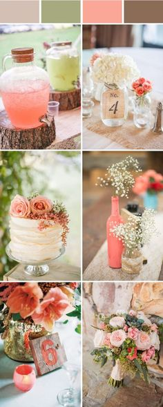 elegant rustic coral wedding color ideas