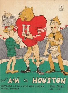 1961 Game Program between Texas A M vs Houston at Kyle Field in College Station on 9/23/61