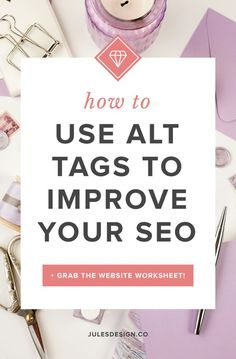 How to use ALT tags to improve your SEO. Grab the website worksheet. Luckily adding ALT text to images in WordPress is really easy to do! ALT text provides information about the images on your website. This is super helpful for search engines because they cannot read text on images or understand what an image conveys without some help. By adding keyword rich descriptions to your images, you allow search engines and screen readers to learn more about your website and what your images mean.