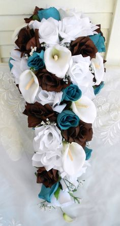 Cascade bridal bouquet set teal, brown and white 22 pieces free small toss – bouquetofsunflowers Cascading Bridal Bouquets, Silk Bridal Bouquet, Bridal Flowers, Wedding Bouquets, Cascade Bouquet, Wedding Cakes, Fall Bouquets, Bouquet Flowers, Wedding Dresses