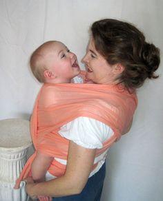 1e068e8152a Cotton Airy Gauze Baby Wrap sling - Just Peachy - beautiful edge.  37.00