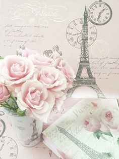 Roses Digital Art - Shabby Chic Pink Roses Parisian Eiffel Tower Decor - Paris Shabby Chic Cottage Roses by Kathy Fornal Shabby Chic Pink, Shabby Chic Cottage, Paris Art, L'oréal Paris, Pink Wallpaper, Iphone Wallpaper, Journaling, Paris Photography, Rose Cottage