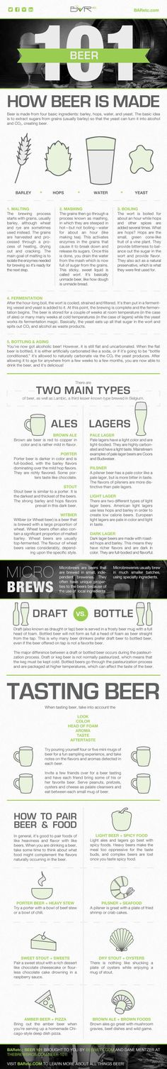 Food infographic Beer 101 I designed for BARetc to help Brand Ambassadors with their. Infographic Description Beer 101 I Tequila, Vodka, Wine And Liquor, Wine And Beer, Beer Brewing, Home Brewing, Gin, Beer Types, Beer Pairing