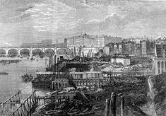 The Victoria Embankment under construction in 1865. Hungerford Bridge can be seen in the background.-Started in 1862, the present embankment on the northern side of the river was primarily designed by Sir Joseph Bazalgette. It incorporates the main low level interceptor sewer from west London, and an underground railway over which a wide road and riverside walkway were also constructed, as well as a retaining wall along the north side of the River Thames.
