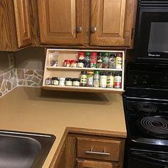 Silverware drawer Under cabinet Storage and Flatware Organizer Cabinet Spice Rack, Diy Spice Rack, Spice Drawer, Diy Kitchen Storage, Storage Cabinets, Rv Storage, Food Storage, Storage Ideas, Under Cabinet Drawers