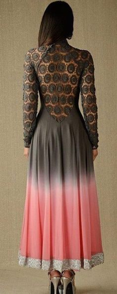Lace-back grey and pink anarkali.