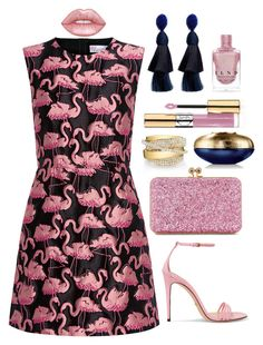 """Flamingo fashion"" by theodor44444 ❤ liked on Polyvore featuring Gucci, RED Valentino, Sophie Hulme, Shay, Guerlain, Oscar de la Renta, Yves Saint Laurent, Lime Crime, Summer and fresh"