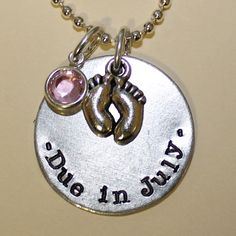 Baby Shower / Pregnancy Gift - Due Date Custom Hand Stamped Necklace by Korena Loves. $19.00
