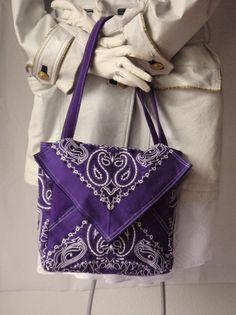 Your place to buy and sell all things handmade Paisley Pattern, Paisley Design, Bandana Crafts, Sewing Crafts, Sewing Projects, Bandanas, Crochet Leaves, Bandana Styles, Diy Handbag