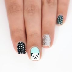 Cute panda nail art on your natural nails is goals! Beautiful and unique stamp nail art By: kellimarissa , , , , You can surely pull off this acrylic color block design! Credits: 45 110 best natural short square nails design for Fall – … Panda Nail Art, Animal Nail Art, Animal Nail Designs, Nail Art Designs Videos, Nail Art Videos, Purple Nails, Green Nails, Nail Art For Kids, Nail Designs For Kids