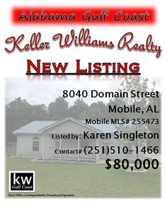 8040 Domain Street, Mobile, AL...MLS# 255473...$80,000...Nice 3/2, with a living/dining room combination, formal dining, and a nice den/tv room. This home is situated on a large lot, with a detached garage/workshop, detached double carport, fenced back yard, and concrete drive. The metal roof was put on approx. 4 years ago (per seller), HVAC replaced in the last 2 years (per seller), and flooring has been replaced/updated. Please contact Karen Nicholson Singleton at 251-510-1466.