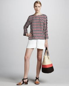 -47U8 Marni Printed Bracelet-Sleeve Blouse & Pleated Shorts