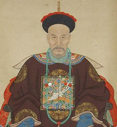 Fine pair of Chinese ancestor portraits on paper. Framed on scrolls. On most ancestors portraits, the figures are p...
