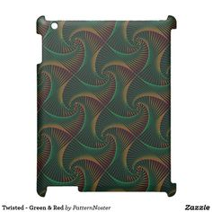 Twisted - Green & Red iPad Cover #green #giftideas #ipadcover #ipad #spirals #shells