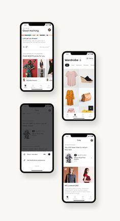 Wardrobe app by Samuel Medvedowsky Android Design, App Ui Design, Interface Design, User Interface, Wardrobe App, Plateforme Collaborative, Mobile Shop Design, Website Design Layout, Apps