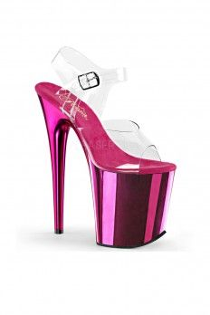 9eca7f244764 Clear Hot Pink Two Tone Platform Stiletto High Heels