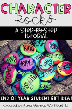 Character rocks make a great end of year gift for students! The rocks are painted and then a word is chosen that describes the student. Check out the blog post to see more character rocks and get a tutorial!