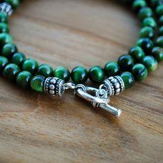 Men's Bracelet - Green Tiger Eye - Wrap Bracelet 6MM