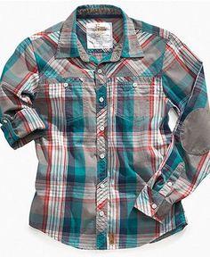 Epic Threads Kids Shirt, Boys Blocked Plaid Shirt - Kids Boys 8-20 - Macy's Baby Boy Fashion, Toddler Fashion, Toddler Outfits, Boy Outfits, Cool Shirt Designs, Baby Kids Clothes, Boys T Shirts, Kids Boys, Casual Shirts