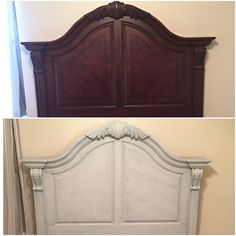 Painted Headboards headboard makeover (including fabric!) with chalk paint