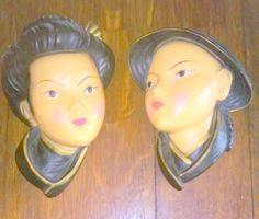 Vintage 1950's Asian Geisha Girl and Mandarin Man Chalkware Wall Hangings by FairbanksAntiques on Etsy