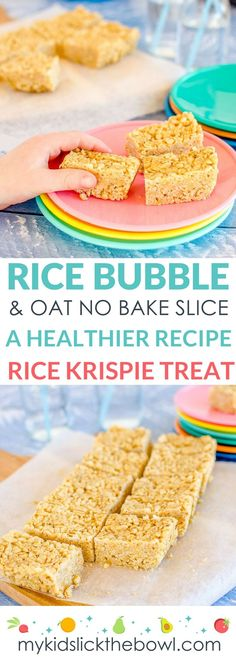 No-bake rice bubble oat slice a healthy Rice Krispie treat recipe for kids