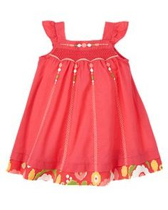 Embroidered Smocked Dress - Gymboree. I like the plain with the patterned band at the bottom.