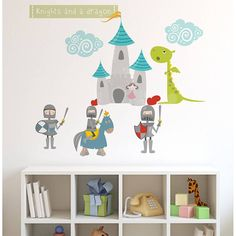 Knights And Dragon Fabric Wall Stickers by Littleprints, the perfect gift for Explore more unique gifts in our curated marketplace. Room Themes, Nursery Themes, Nursery Ideas, Theme Bedrooms, Kid Bedrooms, Dragon Nursery, Diy Wall Stickers, Wall Decals, Dragons