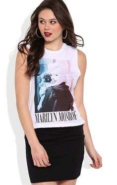 Deb Shops Deep Armhole Tank with Marilyn Monroe Puppy Screen $13.50