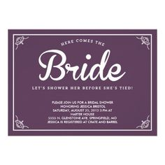 Vintage, Country Brown Purple Shower Invitation // More Colors Available