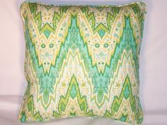 Waverly Green and Aqua Flamestitch Throw Pillow by PillowDetails