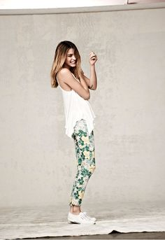floral pants + white sneakers
