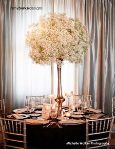 fairy lights & babys breath centerpieces - Google Search