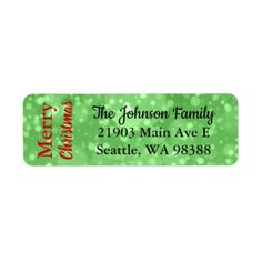 Merry Christmas Green Bokeh Address Label - return address labels label diy personalize cyo unique design custom