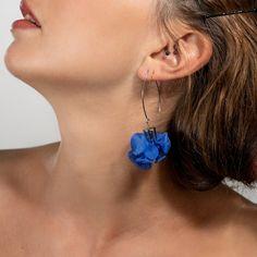 Long Blue Earrings, Unique Large Blue Avant-Garde Statement Fabric Earrings, Shibori Jewelry