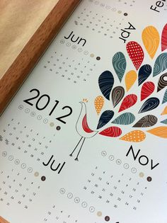 Dekanimal 2012 Calendar - the best reason to have brown modern frames! $20  #gifts #etsy #walls