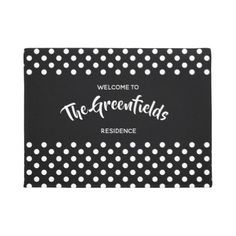 Personalised Shabby Chic Polka Dots Design Doormat - cyo diy customize unique design gift idea perfect