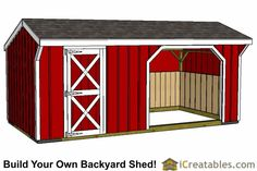 10x30 run in shed and tack room