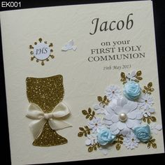 Handmade Communion Greeting Card with flowers and delicate application of the chalice and the Host. Card is perfect for a boy or girl. Card is personalised with the name of the child. The center also is printed wishes. At your request, we can leave the center empty. http://www.handmadecards24.co.uk/product/first_holy_communion_spirit_dove