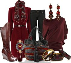 Beautiful Arnold Churgin boots, Big Buddha bag, Ted Baker black jeans, and various burgandy-toned accessories. Races Fashion, Diva Fashion, Womens Fashion, Chic Outfits, Fall Outfits, Jean Outfits, Big Buddha Bags, Burgundy Boots, Autumn Winter Fashion