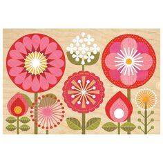 Mod Flowers Jumbo Wood Panel