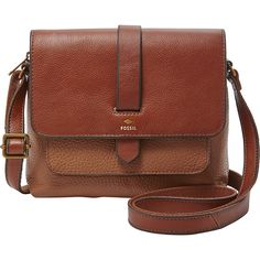 Fossil Kinley Small Crossbody ($128) ❤ liked on Polyvore featuring bags, handbags, shoulder bags, brown, leather handbags, brown crossbody purse, handbags & purses, fossil crossbody and brown shoulder bag
