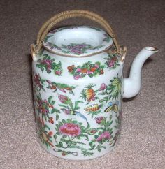 Antique 19th Century Chinese Export Famille Rose Teapot