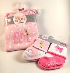 Baby Girl Easter Carters Bodysuit Pink/White Egg-stra Cute & 2 pr Socks 6 Months    eBay
